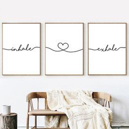 impressions murales en toile blanche et noire Promotion Inspirez Expirez Simple Citations Mur Art Toile Affiche Minimaliste Imprimer Noir Blanc Toile Peinture Photo Salon Décoration Home Decor