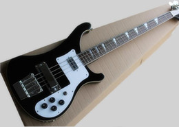 2019 cordas pretas de baixo branco Modelo 4003 de quatro cordas Guitarra baixa elétrica Black Body Branco Cover, suporte personalizado, frete grátis cordas pretas de baixo branco barato