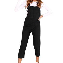 00177ae8027 Autumn Women Streetwear Wide Legs Pants Trousers 2019 NewBib Long Jumpsuit  Button Strappy Dungarees Femme Plus Size S-2XL M0048
