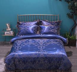 Royal blu raso jacquard seta pizzo di cotone copripiumino set di letti di lusso, Re, Regina dimensioni del lenzuolo impostato federe Wedding Home Textile da stampanti giallo di stampa fornitori