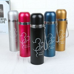 bullet stainless steel water bottle Coupons - Students Cartoon Stainless Steel Thermal Insulation Water Bottles Sport Outdoor Travel Portable Vacuum Bullet Shaped Drinking Cups DH1395