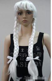 LIVRAISON GRATUITE + + + F Perruque double tresses blanche et blanche avec Déguisements Cosplay ? partir de fabricateur