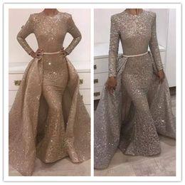 2019 nouvelle sirène robes de soirée bijou manches longues conception unique robes de soirée en dentelle avec paillettes perles cristaux cristaux robes de soirée formelles ? partir de fabricateur