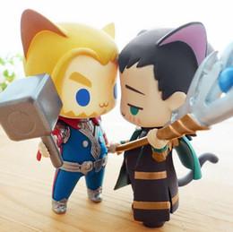 Animazione delle figure di azione online-Superhero Alliance Thor Loki Cat Q Versione Simpatica Action Figure Modello Super Hero Modello Bambole in PVC Giocattoli Animazione Carino Per Regali 256 Y190604