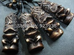 carved horn pendant Promo Codes - pendant necklace scarf FREE SHIPPING Lots 12 pcs Mens Black Cool Tribal Yak Bone Carved Tiki Man Totem Biker Necklace&Pendants
