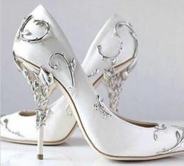 2019 zapatos de noche de talla grande 2019 Boda fiesta de fiesta Zapatos de baile Ralph Russo oro rosa Diseñador Seda de satén Boda Zapatos de novia Zapatos de vestir Plus Size euro 42 zapatos de noche de talla grande baratos