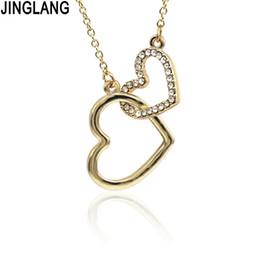 Pendente cuore pendente online-JINGLANG Romantic Party Pendant Necklace Beating Collana con doppio cuore semplice regalo di gioielleria