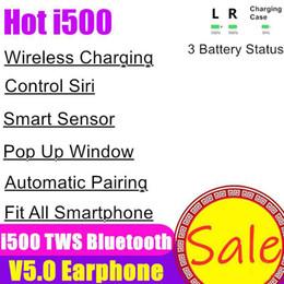 Chip per telefoni online-Cuffie d'aria i500 TWS senza fili Bluetooth 5.0 touch auricolari auricolare ricarica Headset finestra pop-up Earbuds baccelli Per Telefono H1 W1 Chip