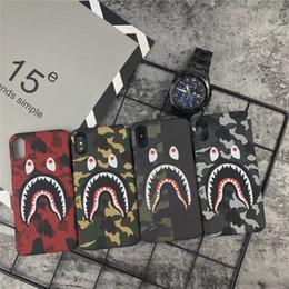 Étui iphone bouche en Ligne-NOUVEAU Shark Mouth Design Couverture de téléphone pour Iphone X Cas Camo Shark Phone pour Iphone 6 7 8 Plus