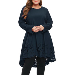 Laserhals online-2019 Damenmode Oansatz Langarm Plus Size Laser Cut High Low Aushöhlen Kleid 30