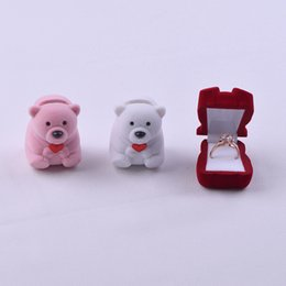 lovely bear jewelry Promo Codes - Ring Box Korean Edition Animal Lovely Bear Ear Nail Packaging Box Small Jewelry Storage Box Valentine's Day Gift hot sale 10 pcs