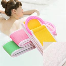Toallas de masaje online-Loofah Bath Massage Strap Loofah Back Correa Bath Towel Body Back Exfoliating Bath Scrub Strap Limpieza Wash Scrubber Accesorios de baño
