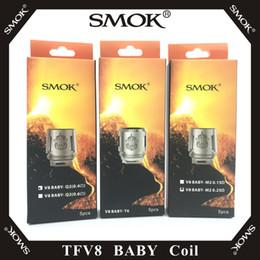Núcleo v8 on-line-SMOK TFV8 BABY Beast Tank Coil Cabeça AB Códigos V8 Baby-T8 T6 X4 M2 Q2 Substituição Núcleo 100% Original Smoktech Atomizador Bobinas