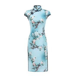 sexy chinese style dresses Promo Codes - Sky Blue Print Women Sexy Vintage Short Cheongsam Novelty Chinese Style Mandarin Collar Dress Ladies Slim Qipao Plus Size M-3XL