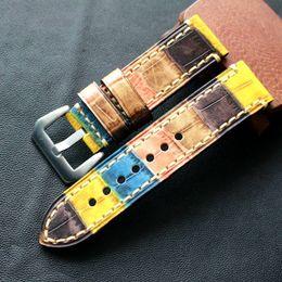 reemplazar reloj Rebajas ALTA CALIDAD HECHO A MANO COLORIDO VACA ORIGINAL BANDA DE CUERO BANDA PARA PAM reloj pulsera CORREA reemplazar reparar reparar accesorio relojero