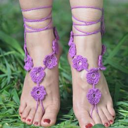 2019 zapatos de la boda del victorian Sexy Bikini Anklet Boda en la playa Boda de marfil Crochet Sandalias descalzas Zapatos desnudos Calzado Victoriano Encaje Nupcial Tobillera Desgaste de la playa zapatos de la boda del victorian baratos