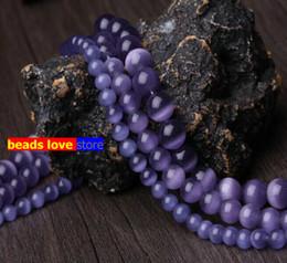 2019 perlas de ojos de gatos morados collar de ópalo Tamaño de la selección 4.6.8.10 12 MM Perlas de ojos de gato liso púrpura Espaciador de piedra natural Cuentas sueltas 15.5 \