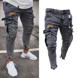 Jean lavaggi online-Il nuovo modo jeans lavati Mens Ripped Skinny Jeans Destroyed Logoro Slim Fit Denim Pocket Pencil Pant Size S-2XL