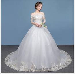 480af85359 New wedding dress bride married tailed princess dream big size big size  marriage