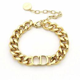 2019 braceletes de ouro branco 24k de luxo designer de jóias homens pulseira pulseiras grossa corrente de ouro com a letra D em aço inoxidável ligação pulseira e colar conjuntos de moda
