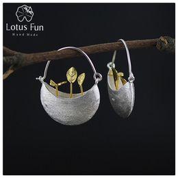 Lotus Fun реальный стерлингового серебра 925 природный творческий ручной работы ювелирные изделия мой маленький сад серьги для женщин Brincos Y190125 cheap garden natural от Поставщики сад натуральный