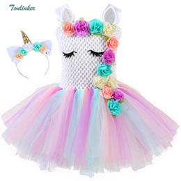 Kızlar Unicorn Çiçekler Tutu Elbise Kafa Pamuk Astar Ile Eşleşen Boynuz Saç Hoop Çocuklar Doğum Günü Tema Parti için Set Elbise nereden gothic lolita dress kolsuz tedarikçiler