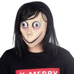 pelucas de latex Rebajas Adulto Horror Miedo máscara de látex de la cara con el pico Ojo grande pelucas largas para la herramienta hasta vestido de fiesta de disfraces de Halloween