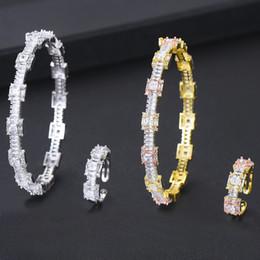 Exquis Micro Cubique Zircone Ouverture Anneau Bracelet Ensembles De Bijoux De Mariée Femmes Fille De Mariage Fiançailles Nuit Partie Bijoux ? partir de fabricateur
