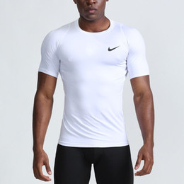 Corti pantaloncini caldi sportivi online-sport caldi di vendita aderente ad asciugatura rapida abbigliamento fitness traspirante in esecuzione di formazione di fitness a maniche corte T della maglietta 2 colorsize S-XXL