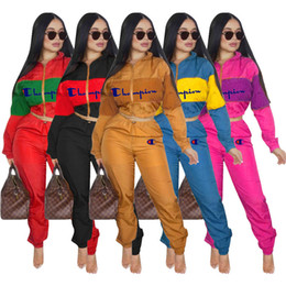 european style hoodies Promo Codes - Long Sleeve Hoodie Tracksuit Two Piece Set Letter Print Short Hoodies Patchwork Long Pant Champion Stand Collar Sportswear Clothing SetC8201