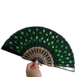 Новый Китайский Стиль LaceElegant Красочные Вышитый Цветок Павлина Pattern Блесток Ткань Складной Ручной Вентилятор Ручной Работы от