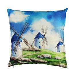 mulini a vento Sconti Case Cover Paese Windmill design mat cuscino 43x43cm nuovo cotone di tela Gettare quadrati Federe per casa decorazione della stanza