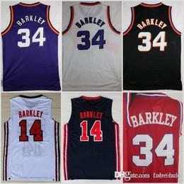 37d3ab6c8 1992 NEW Dream Team One 14 Charles Barkley Phoenix Jersey SUNS Fashion 34  Shirts Uniforms Red Black Purple White Navy Blue