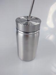 Puede beber tapa online-Mason Jar de acero inoxidable de doble pared 500ml Mason Cup con tapa y acero inoxidable Straw Coffee Beer Juice Mug Mason Lans Drinking Cup