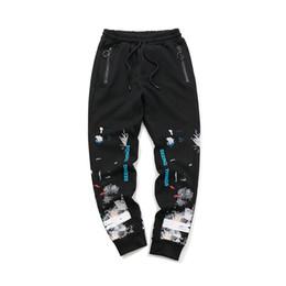 Argentina Nuevo 2018 sky spray paint and ink sparklers pantalón y pantalón para hombre par de elegantes pantalones OW Pantalón estampado Pantalón alfabeto cheap spray pants Suministro