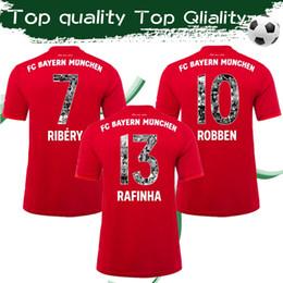 Magliette personalizzate di stampa online-Bayern Monaco Especial Printing # 7 RIBERY # 10 Maglia da calcio ROBBEN 19/20 Maglia da calcio Maglia sportiva Uniformi personalizzate Spedizione a carico