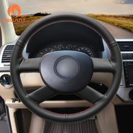2019 tampa do volante do vw MEWANT preto couro artificial cobertura de volante de carro para Volkswagen VW Polo 2003 2004 2005 2006 tampa do volante do vw barato