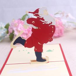 cartões de natal musicais Desconto Handmade Cartão De Natal 3D Pop Up Cartão De Saudação Sino De Natal Convites De Festa Cartão De Papel Personalizado Lembranças Cartões Postais