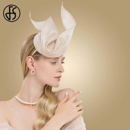 Cappelli rosa sinamay online-Fs Fascinator Pink Ladies Hat per matrimonio donne elegante Kentucky Derby Cappelli Chiesa Sinamay Nera Lino Fedoras Chapeau Femme AEDsp