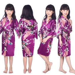 Robes de kimono en soie enfants en Ligne-Purple Enfants Robes De Tenue De Mariage De Fleurs Pour Les Filles Floral Silk NightGown Enfants Peignoir Demoiselle D'honneur Kimono Robes De Soirée
