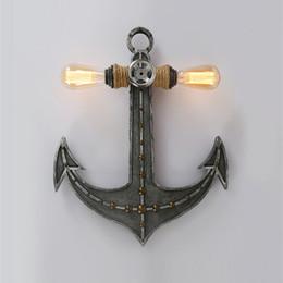lampe d'ancrage Promotion Américaine Anchor Chambre Salon Applique Industrie Rétro double tête Creative Fer Lampes lumières décoratives murales