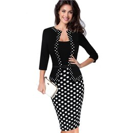 veste de travail beige Promotion Womens Faux Veste One-piece Polka Dot Contraste Patchwork Vêtements de Travail Bureau Business Gaine Robe Tunique Robe Crayon