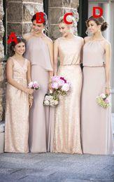 Deutschland Mantel Rose Gold Pailletten Brautjungfernkleider verschiedene Stile gleiche Farbe lange Mutter Tochter V-Ausschnitt Blumenmädchenkleider Versorgung