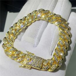 gold-diamant-tennis-armbänder Rabatt Mens Hip Hop Gold Armbänder simuliert Diamant Armbänder Schmuck Mode Iced Out Miami kubanischen Gliederkette Armband