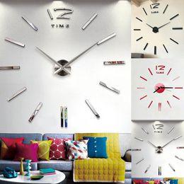 Grandes espejos modernos online-Diy gran número reloj de pared 3d espejo pegatina decoración moderna oficina en casa