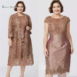 Gaine de thé longueur en Ligne-Robes de mère de gaine manches courtes chic avec Jacket Tea Longueur Robe de mère de la mariée sur mesure
