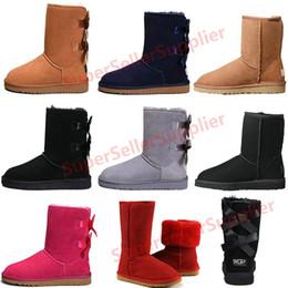 Botas de brilho para mulher on-line-UGG Boots Mulheres botas Curto Mini Austrália Clássico Na Altura Do Joelho Botas de Neve de Inverno Designer Bailey Bow Tornozelo Bowtie Cinza Preto castanha vermelho 36-41
