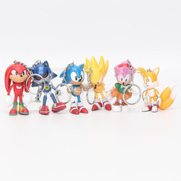 dolls sonic Promo Codes - 6cm Sonic the Hedgehog action figures Toy PVC toy Sonic Characters figure toys brinquedos Doll 6pcs set keychain pendant gift
