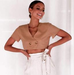 nó de ombros Desconto Mulheres roupas sexy com decote em V mulheres profissionais camisa cor sólida curto parágrafo exposto umbigo casaco de algodão de mangas curtas