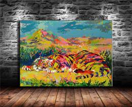 2019 óleo de arte de tigre Tigre pintado, Pintura em tela Sala de estar Decoração de Casa Modern Mural Art Pintura A Óleo desconto óleo de arte de tigre
